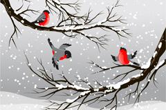 冬季下雪鸟插画矢量素材