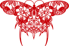 精美蝴蝶剪纸设计矢量素材