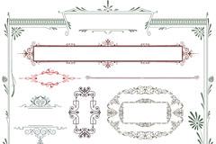 彩色欧式花纹边框设计矢量素材