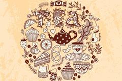 手绘下午茶插画矢量素材