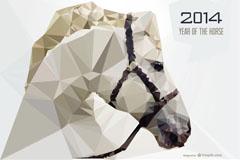 2014白色骏马背景矢量素材