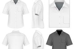 男士短袖衬衫设计矢量素材
