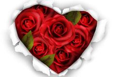 创意玫瑰花撕纸背景矢量素材
