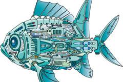 创意蓝色机械鱼矢量素材