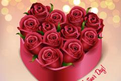12朵玫瑰爱心礼盒矢量素材