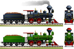 卡通蒸汽火车矢量素材
