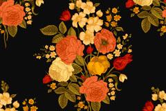 油彩花束背景矢量素材