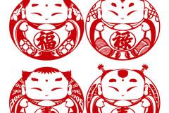 福禄寿喜娃娃剪纸矢量素材