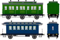 老式卡通车厢设计矢量素材