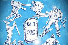 索契冬奥会滑雪赛事插画矢量素材