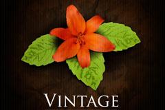 复古橙色花朵背景矢量素材