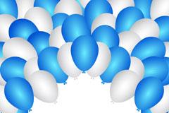 卡通蓝白气球背景矢量素材