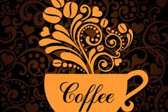 精美花纹咖啡背景矢量素材