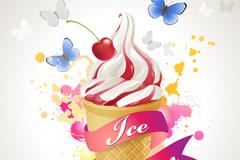 奶油冰淇淋插画矢量素材