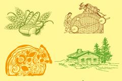 创意农产品插画矢量素材