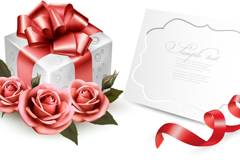 精美玫瑰礼盒与卡片矢量素材