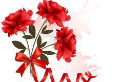 丝带玫瑰花束矢量素材