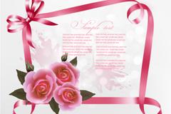 精致玫瑰丝带背景矢量素材