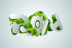立体绿叶2014字体设计矢量素材