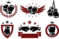 精致拳击运动标志矢量素材