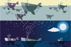 鲸鱼的昼与夜插画矢量素材