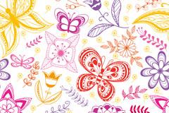 彩绘花朵蝴蝶背景矢量素材