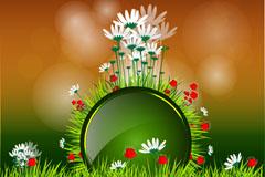 彩绘花卉插画矢量素材