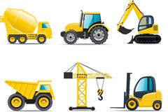 6种工程车辆图标矢量素材