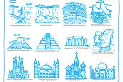 手绘旅游地标性风景建筑矢量素材