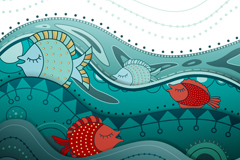 童趣海洋鱼类插画矢量素材