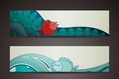 3个创意海洋banner设计矢量素材