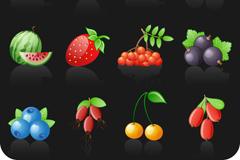 12种新鲜水果图标矢量素材