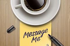 精美咖啡便签背景矢量素材