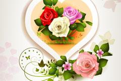 精美玫瑰爱心卡片矢量素材