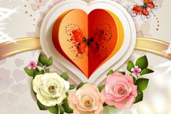玫瑰花折纸爱心背景矢量素材