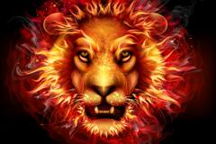 创意火焰狮子头像矢量素材