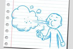 卡通吸烟人物插画矢量素材