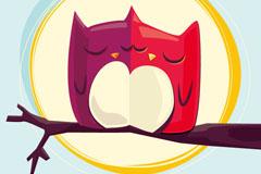 卡通情侣猫头鹰矢量素材
