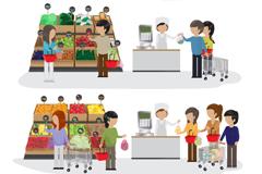 超市购物结算人物插画矢量素材