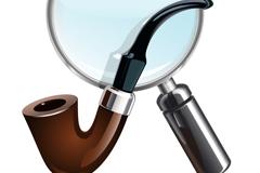 烟斗和放大镜设计矢量素材