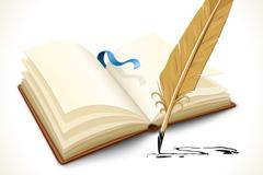 羽毛笔与记事本矢量素材