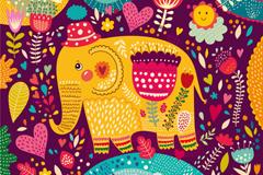 童趣大象插画矢量素材