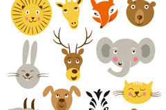 卡通动物头像设计矢量素材