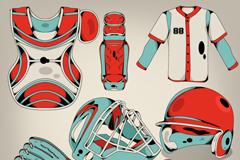 棒球运动元素设计矢量素材