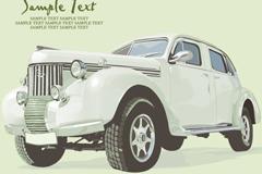 复古白色轿车矢量素材