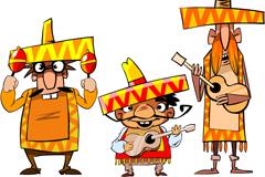 3个卡通墨西哥人物矢量素材