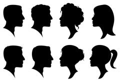 12款人物头像剪影矢量素材
