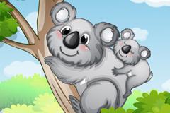 卡通母子考拉熊插画矢量素材