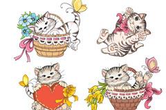 4款彩绘猫咪矢量素材