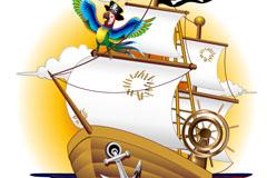 卡通海盗船插画矢量素材